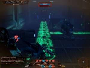 Mass Effect 2 : Bevor Sie den grünen Bereich betreten und so Alarm auslösen, sollten Sie sich und Ihr Team in eine geeignete Angriffsposition begeben.