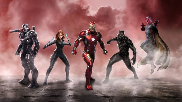 Konzeptposter zu Captain America 3 zeigt Team Iron Man mit War Machine, Black Widow, Black Panther und Vision.