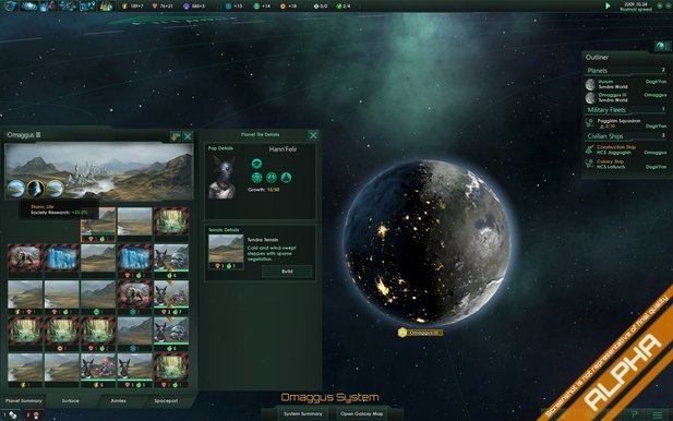 Planeten-Interface in Stellaris