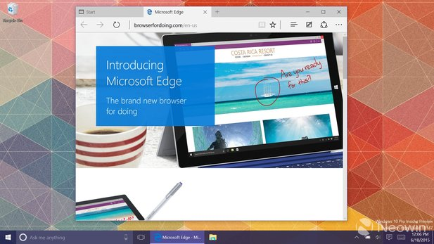 Windows 10 Build 10147 nennt den neuen Browser nun endlich Edge. (Bildquelle: Neowin)