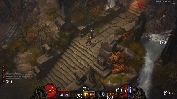 Diablo 3 - Die Grundlagen : So sieht das Diablo 3 Interface aus.