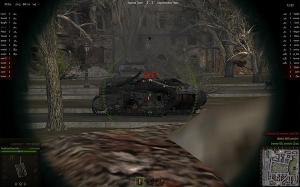 World of Tanks : Dieser Gegner konnte von uns kaum etwas erkennen, wir hatten jedoch freies Schussfeld aus unserer Deckung.