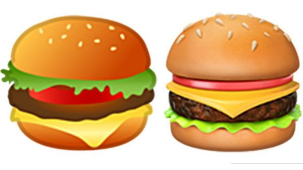 Die Cheeseburger Emoji: Links Google, rechts Apple (Bildquelle: Twitter/@baekdal)