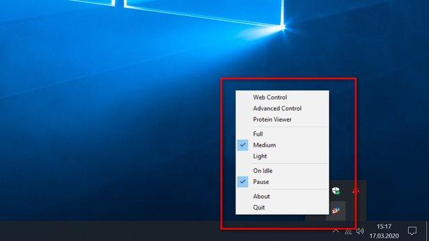 Das Tray-Icon in der Taskleiste von Windows bietet schnellen Zugriff auf die wichtigsten Einstellungen von Folding@home.
