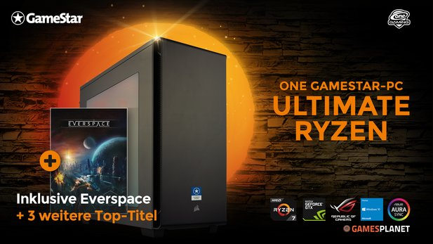 Geht's überhaupt noch besser? ONE GameStar-PC Ultimate Ryzen mit AMD Ryzen 7, ASUS Geforce GTX 1070, ASUS PRIME-Mainboard, 16 GB RAM, 250 GB SSD, 1.000 GB HDD, Corsair-Zubehör und Windows 10.