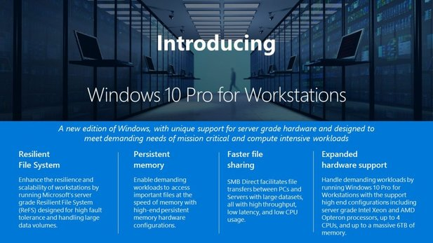 Windows 10 Pro for Workstations ist für High-End-Systeme gedacht. (Bildquelle: Microsoft)