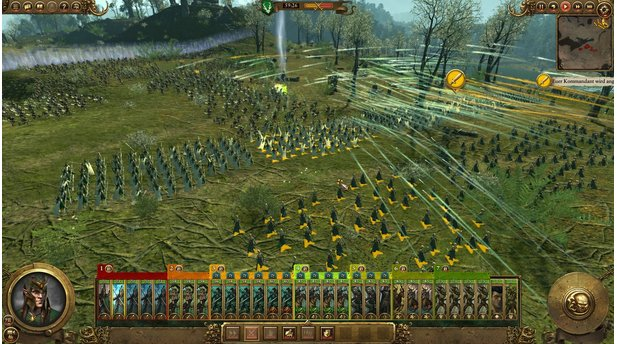 <b>Total War: Warhammer - Realm of the Wood Elves</b><br>Feuer frei! Unsere Lanzenträger harren der anstürmenden Tiermenschen, unsere Schützen spicken sie mit Pfeilen.