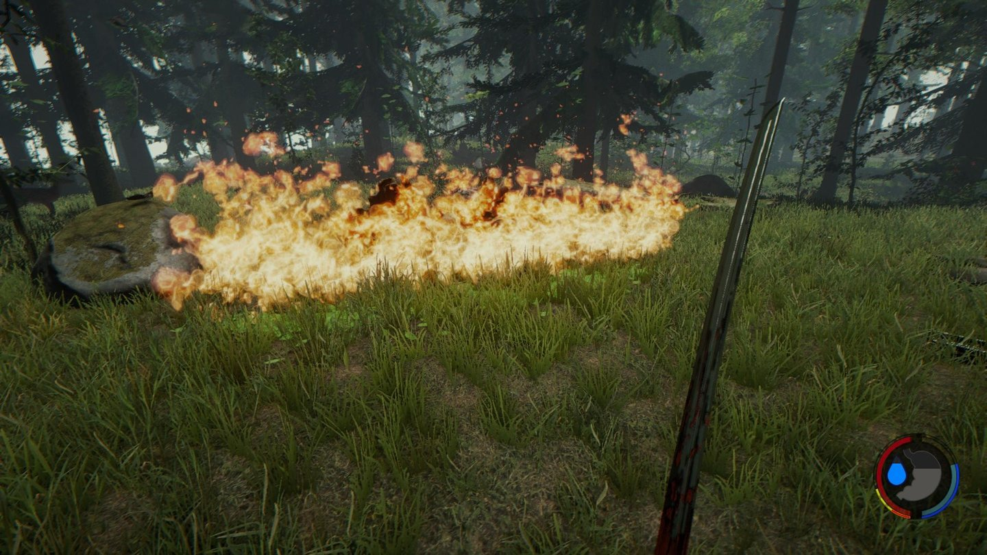 The Forest - Screenshots aus der Early-Access-Version 0.28…lässt sich mit dem Feuerzeug, einem brennenden Pfeil oder dem Molotov entzünden.