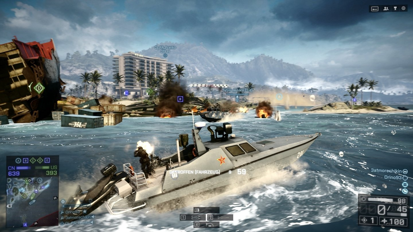 Battlefield 4 - Multiplayer-Screenshots (PC-Version)Das neue Speedboat beherrscht mit seiner umfangreichen Bewaffnung die Wasserwege.