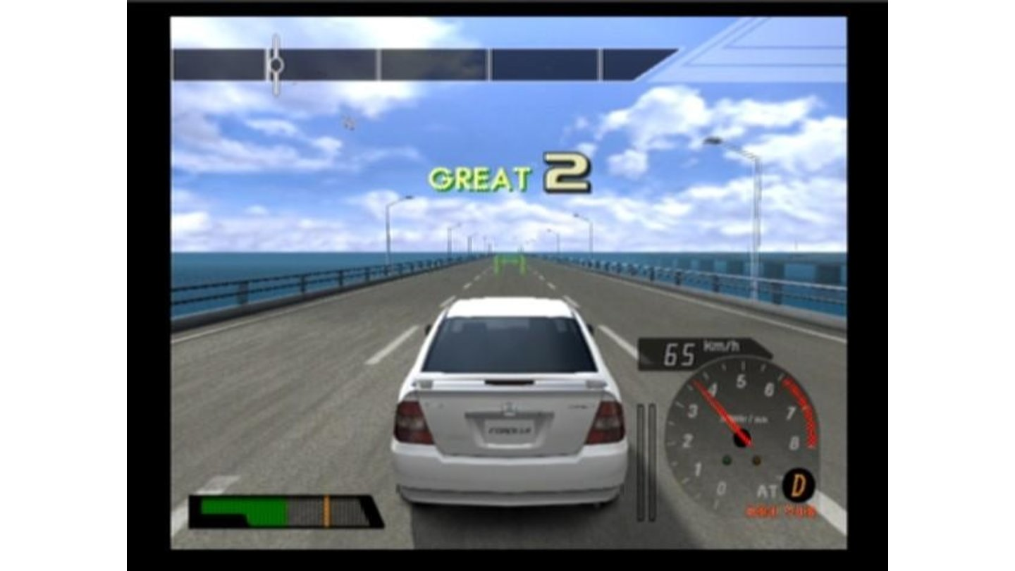 Driving Toyota Corolla in training mode, you must pass all the checkpoints at the right speed (color of checkpoint indicates how close are you driving to the perfect speed to pass through)
