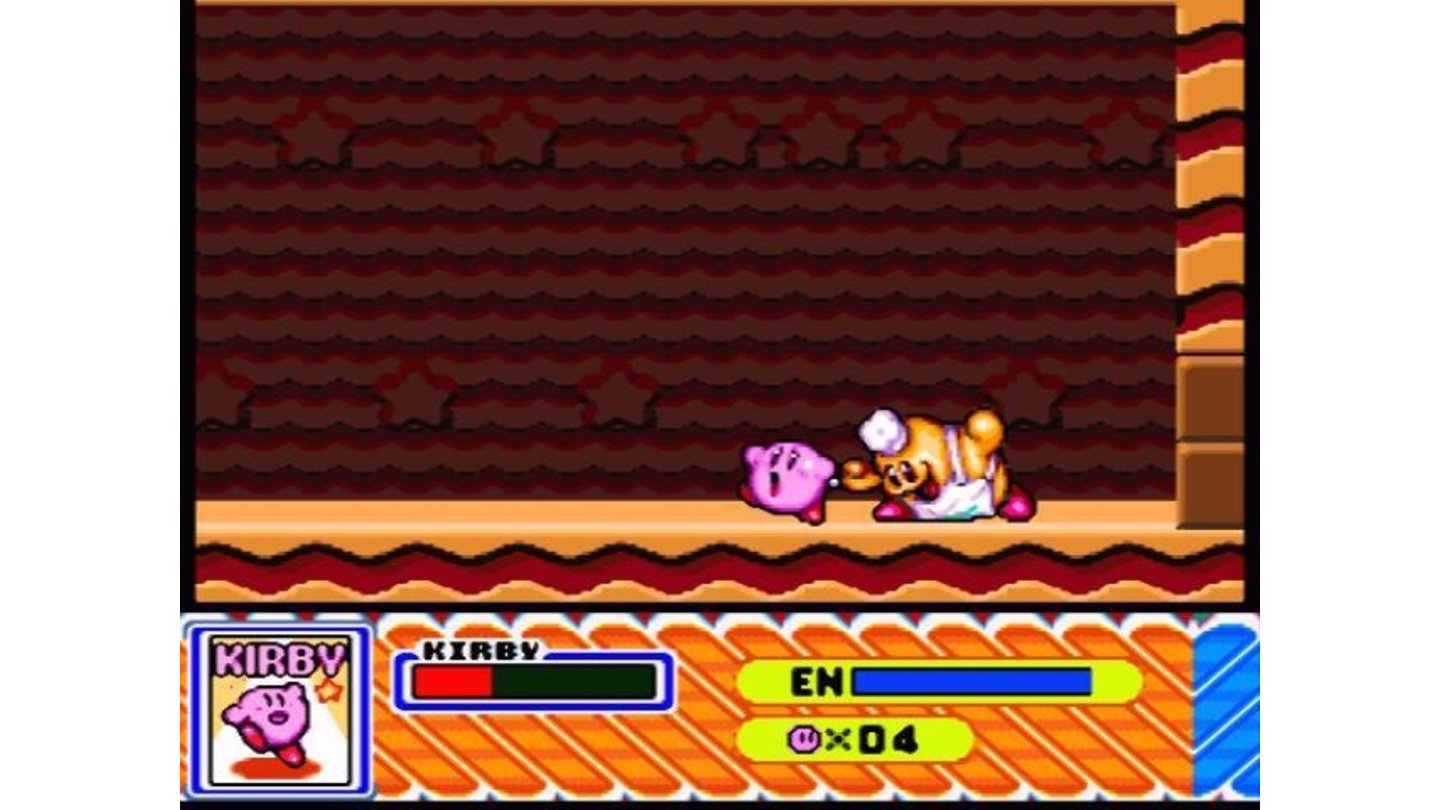 This boss is quite nasty: if he inhales Kirby, the game is over
